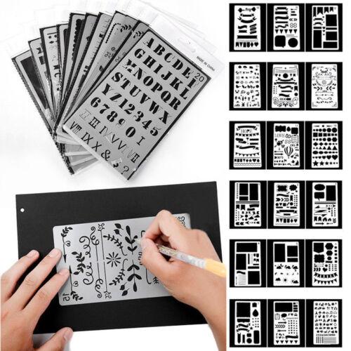 12Pcs Bullet Journal Stencil Set Plastic Planner Drawing Template Diary 24 Pens