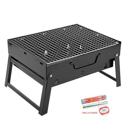 Portable BBQ Grill Stand Garden Patio Camp Barbeque Charcoal Rectangular Black