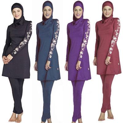 Fraue Muslim Islamic Badebekleidung Full Sleeve Badeanzug Burkini Beachwear DE