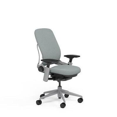Large Steelcase Leap Plus Adjustable Chair V2 Buzz2 Alpine Fabric 500lb Platinum