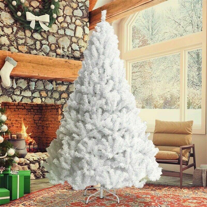 Christmas Tree 6ft Metal Stand Xmas Bushy 1400 Branches White Xmas Home Decor