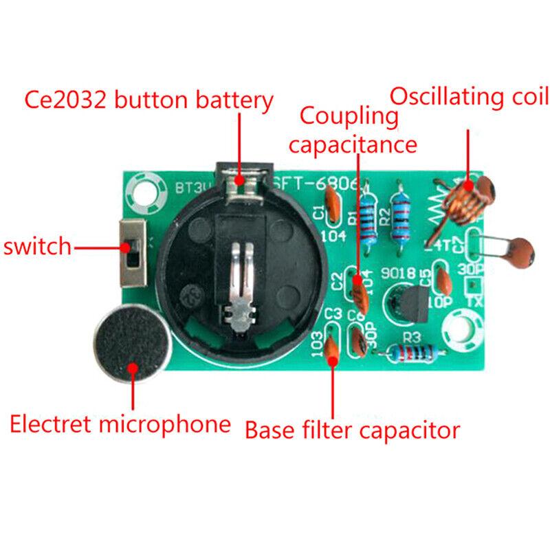 FM Stereo Radio Transmitter DIY Kit With Microphone DC 3V Soldering Pract L/