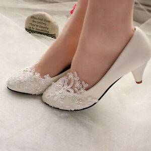 Lace-Pearl-Bride-Wedding-Pumps-Ankle-Beading-Bride-Bridesmaid-Shoes-UK-Size-2-8