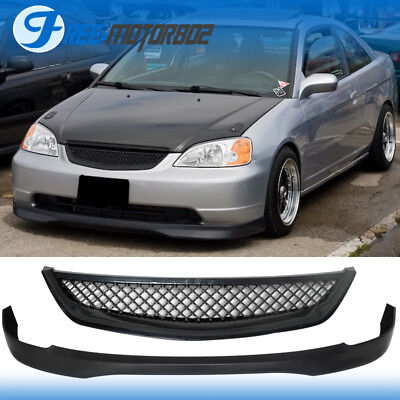 - Fit 01-03 Civic 2Dr 4Dr Type R Style Front Lip PP + Type R Style Grill ABS