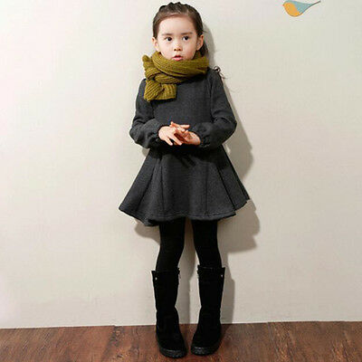 Toddler Kid Girls Long Sleeve Dress Flare Skirt Casual Dress Winter Clothes 2-9Y