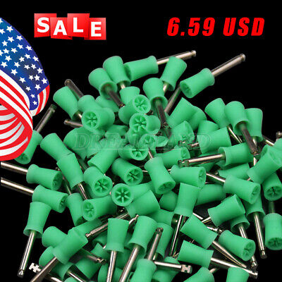 100pcs Dental Rubber Prophy Tooth Polish Polishing Cups Brushes Latch Type Green