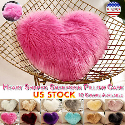 Heart Shaped Faux Fur Plush Soft Pillow Cover For Sofa Living Room Gift -