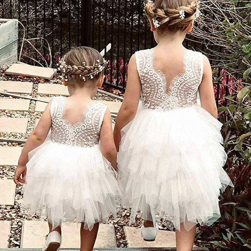 Toddler Kids Baby Girls Sleeveless Dress Birhtday Baptism Party Lace Tutu Gown
