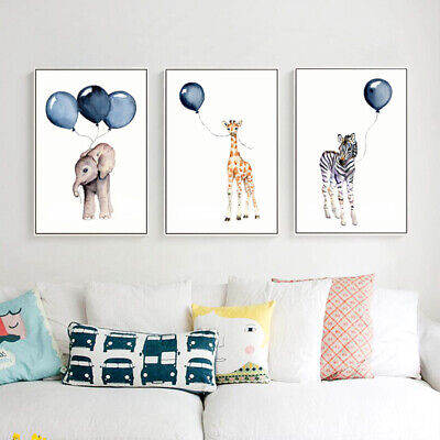 Giraffe Elephant Zebra Art Mural Poster Nursery Wall Print Kid Room Decor Crafts](Elephant Nursery Decor)