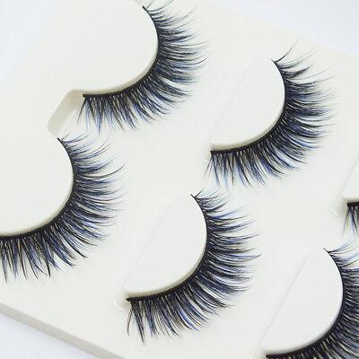 3 Pairs Blue+Black Long Thick Cross False Eyelashes Handmade Eye Lashes Party (Blue Eyelashes)