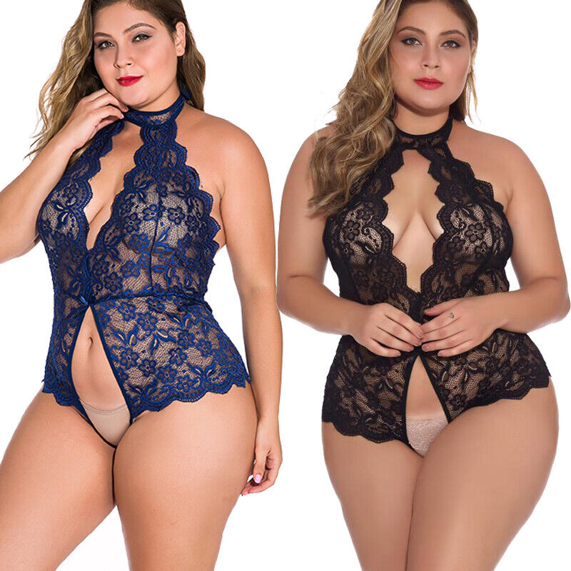 Plus Size Sexy Lingerie Lace One-Piece Womens Teddy Crothless Bodysuit US FAST