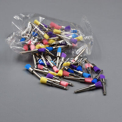 100x Dental Flat Prophy Brush Polisher Nylon Polishing Brush Brushes 2.35 Color