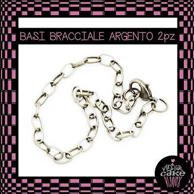 2pz BASI BRACCIALE ARGENTO catena moschettone charms componenti fai da te bijoux