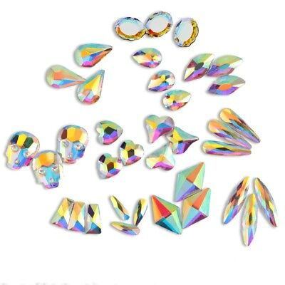 20 50 100pcs 3D Nail Art Rhinestones Flat Shaped Elongated Glass Colorful Stones