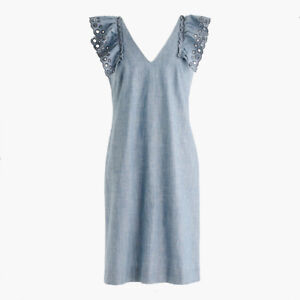 J. Crew Chambray ruffle-shoulder sheath dress (Size 6)