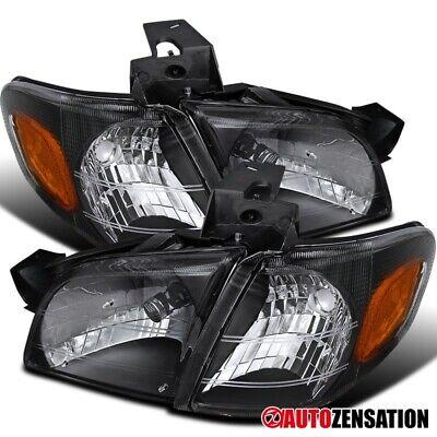 For 1997-2005 Chevy Venture Montana Trans Black Headlights+Amber Corner Lamps