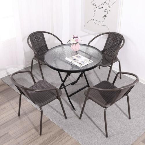 Garden Furniture - Garden Bistro Patio Furniture Set Folding Table Chairs Outdoor Indoor Rattan NEW
