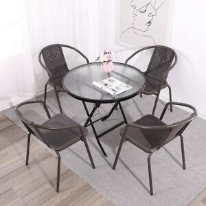 Garden Bistro Patio Furniture Set Folding Table Chairs Outdoor Indoor Rattan NEW