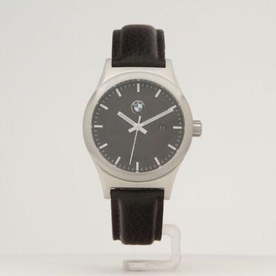 BMW Genuine Mens Wrist Watch Classic Black Leather Strap Waterproof 80262365447