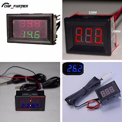 Waterproof Thermometer Led Display Dual Digital Temperature Sensor 1m Ntc Probe