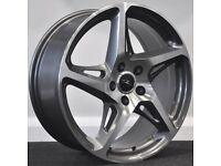 """19"""" River R4 Gunmetal Alloy Wheels & Tyres. Suit Volkswagen Golf, Jetta, Seat Leon & Audi. (5x112)"""