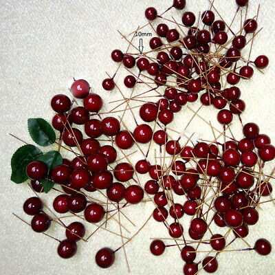 100Pcs Artificial Red Holly Berry Garland for Christmas Tree Decor Ornament RGR ()