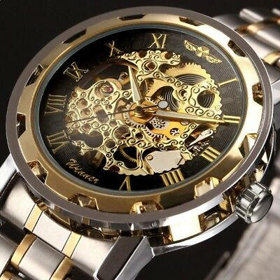 New Mens Classic Transparent Steampunk Skeleton Mechanical Stainless Steel Watch