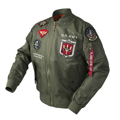 NEW Mens MA-1 TOP GUN Flight Bomber Jacket Baseball Coat Thin zipper Coat Jacket (Top Gun Bomber Jacket)