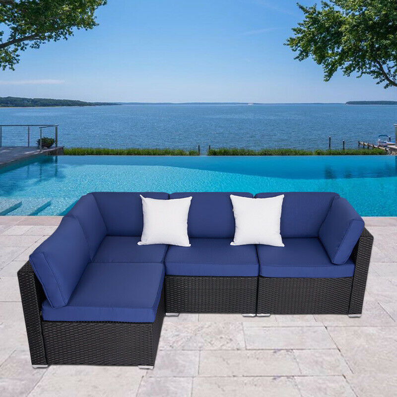 Garden Furniture - 2-4PCs Patio Rattan Wicker Sofa Set Cushined Couch Furniture Outdoor Garden