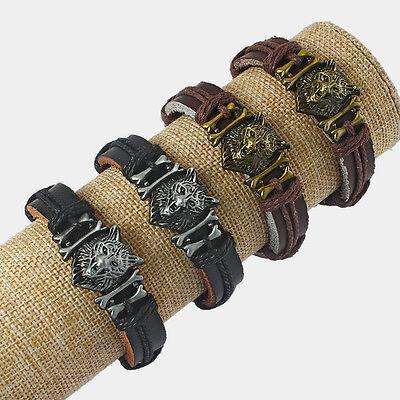 - Man Black/Brown Real Genuine Leather Wolf Head Tribal Totem Wristband Bracelet