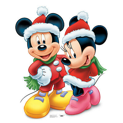 MICKEY MOUSE & MINNIE MOUSE Christmas Santa CARDBOARD CUTOUT Standee Standup F/S - Mickey Mouse Cardboard Cutout