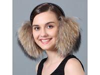 DAYMISFURRY-- Raccoon Fur Earmuffs With Leather Band