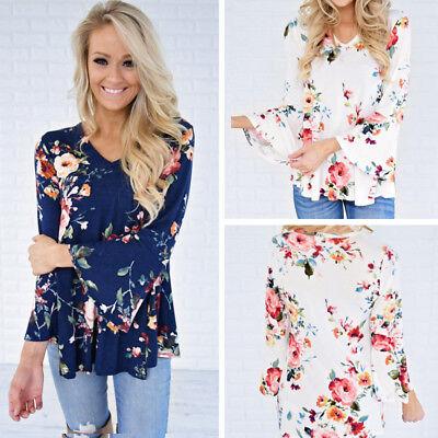 Womens Autumn Long Sleeve Floral Shirt Loose Casual Blouse Tops T Shirt Fashion