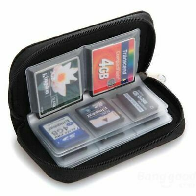 22-Slot Memory Card Case SD SIM CF Card Holder Carrying Bag for Micro SDHC Black