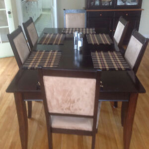Solid wood dining table with hutch