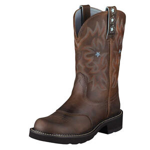 Ariat Women's Fatbaby Cowboy Western Leather Boots BROWN 9