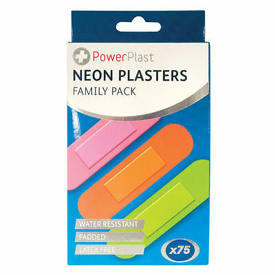 2x 75 NEON PLASTERS WATERPROOF PADDED EXTRA COMFORT BANDAGE FLEXIBLE 75MM x 19MM