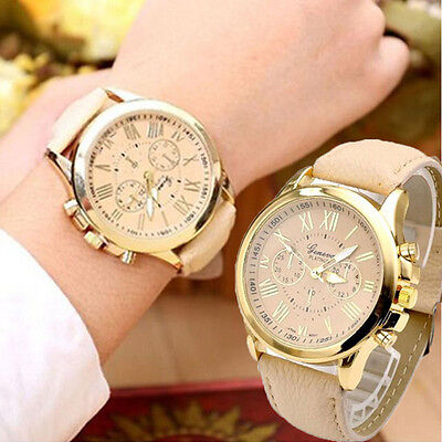 Fashion Women's Date Casual Stainless Steel Leather Analog Quartz Wrist Watch