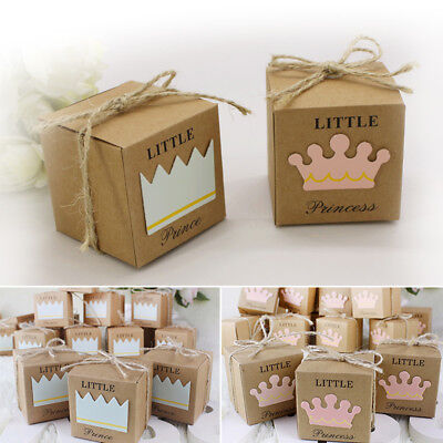 10pcs Kraft Prince Princess Crown Candy Box Girl Boy Baby Shower Party Favor New