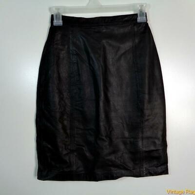 EXPRESS Sexy Soft Lambskin Leather Skirt Size 3/4 Black
