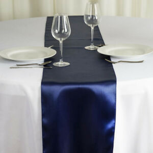 25 X Chemins de table satin bleu marin