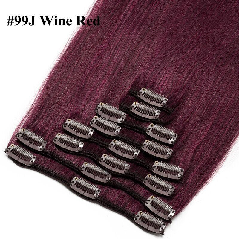 50CM 60CM Echthaar Clip In Extensions Remy Haar Haarverlängerung 8 teilig Set DE #99J Wein Rot
