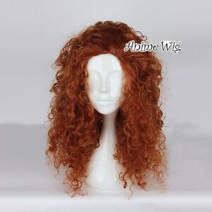 Anime Cosplay Orange Curly Brown Hair For Merida Brave Heat Resistant Full Wig