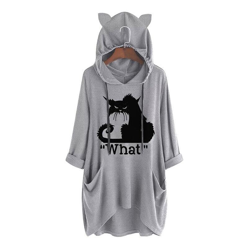 Übergröße Damen Kapuzenpullover Katze Sweatshirt Kapuzen Shirts Hoodie Longtops