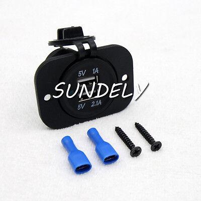 NEW Motorcycle Boat Car 12V/24V  USB Twin Power Cigarette Lighter Socket Plug UK