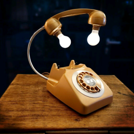 Upcycled Retro Vintage Rotary Telephone Lamp Copper/Gold