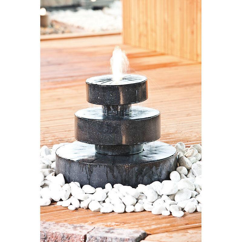 Heissner Gartenbrunnen Mill Fountain LED Poly Terrazzo schwarz Etagen Quellstein