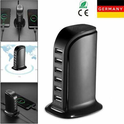 6 fach USB Port Schnell Ladegerät Netzteil Station Stromadapter für Handy Tablet ()