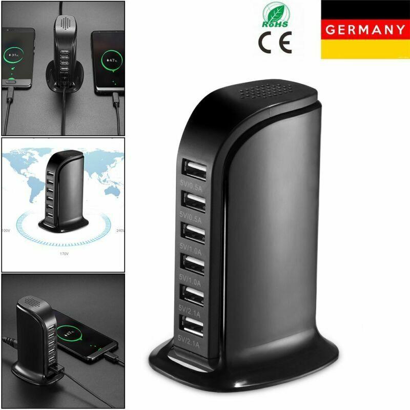6 fach USB Port Schnell Ladegerät Netzteil Station Stromadapter für Handy Tablet