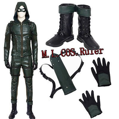 Green Arrow Womens Costume (Hot Cakes Green Arrow Season 5 Oliver Queen Cosplay Costume and Cosplay Shoes)
